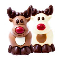 Mini Rudolphe Lait Et Blanc Coloré 9cm