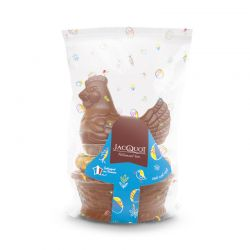 Poule couveuse chocolat au lait garnie d'œufs pralinés 250g